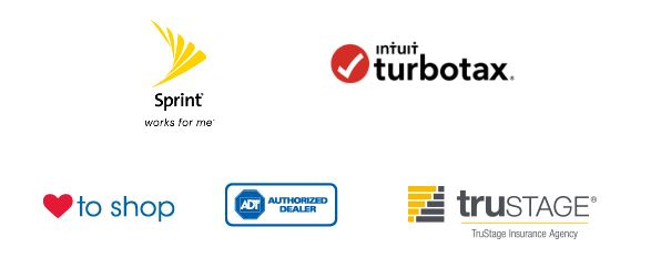 Logos for Love My Credit Union Rewards Program: ADT, Sprint, TruStage, Turbo Tax and Love To Shop